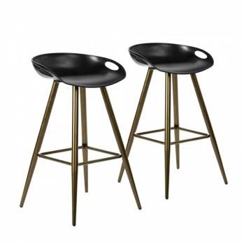 Lot de 2 tabourets de bar noir avec pieds en métal couleur bronze