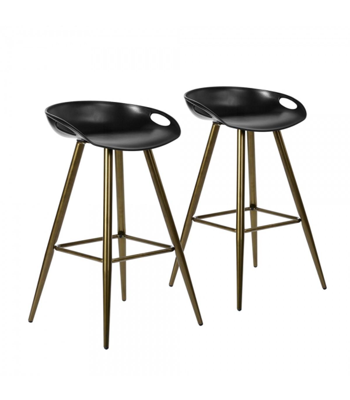 Tabouret de bar Industriel / Scandinave noir et bronze - lot de 7