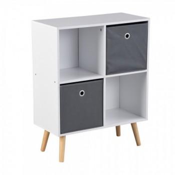 Meuble 4 cases carré blanc avec 2 cubes de rangement gris