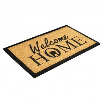 Paillasson marron motif Welcome Home 45 x 75 cm