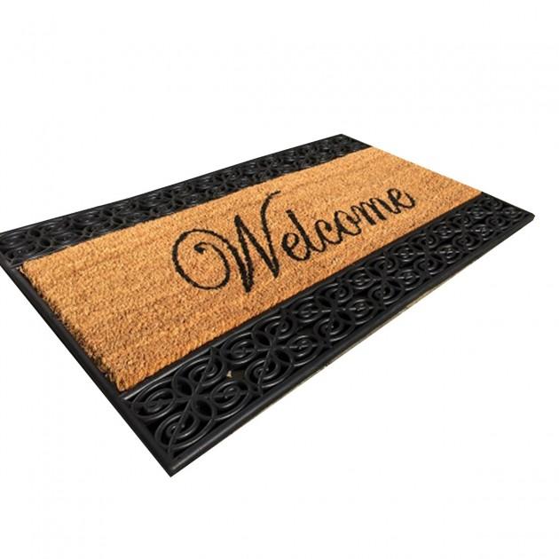 Paillasson Welcome marron et noir 45 x 75 cm