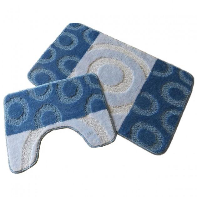 Ensemble tapis salle de bain et WC bleu