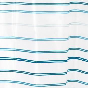 Rideau de douche rayé blanc et bleu Lindy 183 x 183 cm