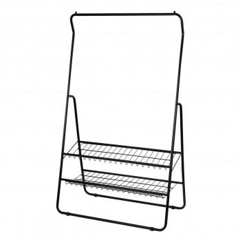 Penderie en métal noir avec 2 tablettes inclinées