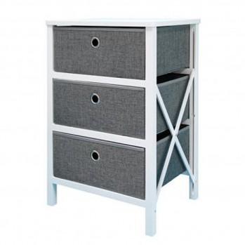 Meuble pliable bois blanc avec trois tiroirs