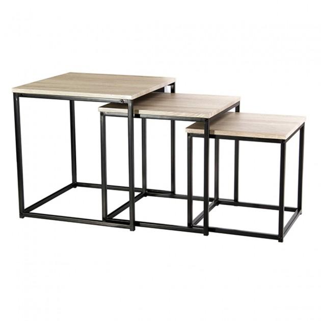 Tables gigognes pieds en métal noir- Lot de 3