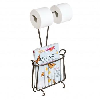 Double porte papier toilette avec porte-revues