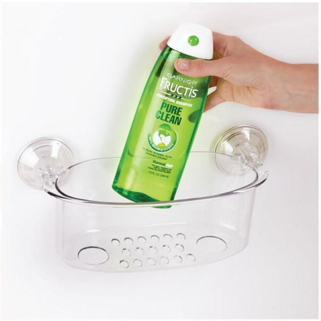 Panier de douche à ventouse transparent