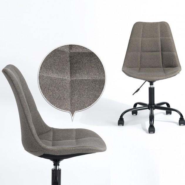 Chaise de bureau scandinave en tissu gris