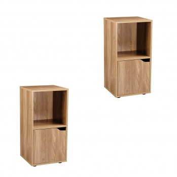 Lot de 2 tables de chevet 2 cases décor bois 1 porte