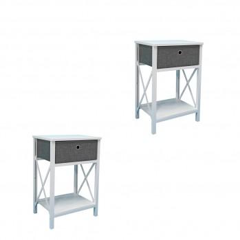 Lot de 2 Tables de chevet bois blanc avec un tiroir