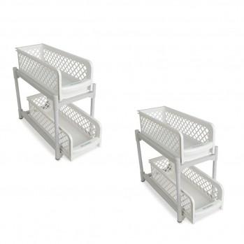 Lot de 2 etagères de rangement 2 tiroirs Blanc