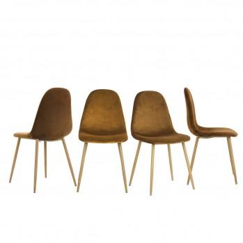 Lot de 4 chaises velours avec pieds en métal simili bois