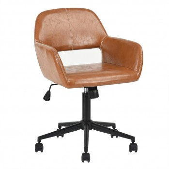 Fauteuil de bureau en similicuir marron