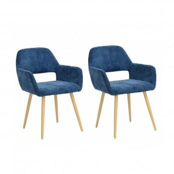 Chaise de salon scandinaves pieds métal - lot de 2