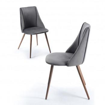Chaises grises en velours pieds métal - lot de 2
