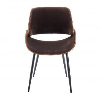 Chaise en velours marron Mannix