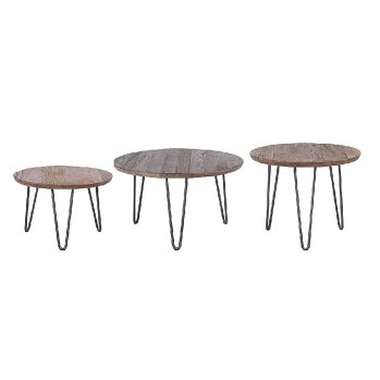 Tables gigognes en pin massif COLETTE - Lot de 3