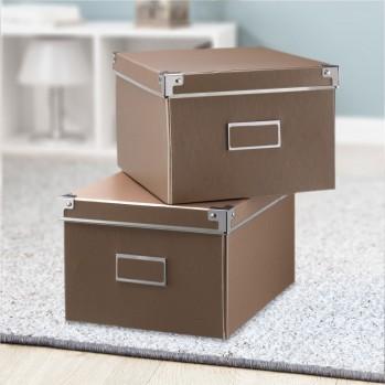 Lot 2 boîtes carton cuivre avec armature métal
